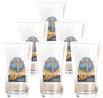 Blue Hen Beer pint glasses